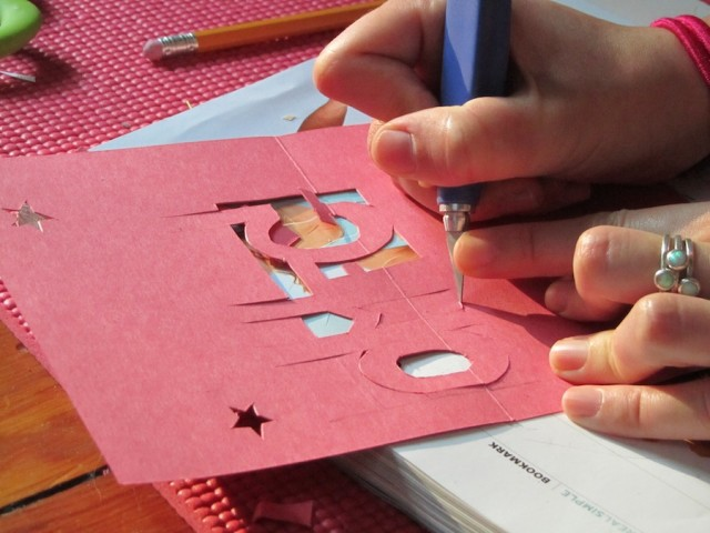 now push the part youre going to make pop up out of the card this is the trickiest step because you are forcing the paper to go against the existing - Make A Pop Up Card