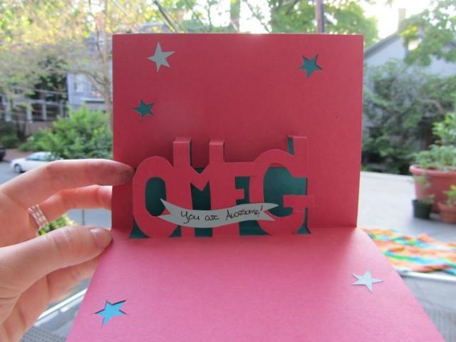 Как сделать открытку с объемными буквами, юбилеем