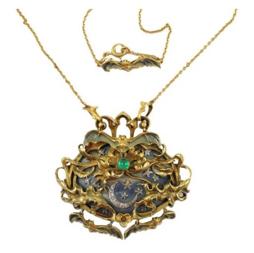 Estate jewelry the horror the hairpin bats flutter against a backdrop of the moon and stars in this eerily pretty french art nouveau necklace set in 18k gold with enamel the moon and stars are aloadofball Choice Image