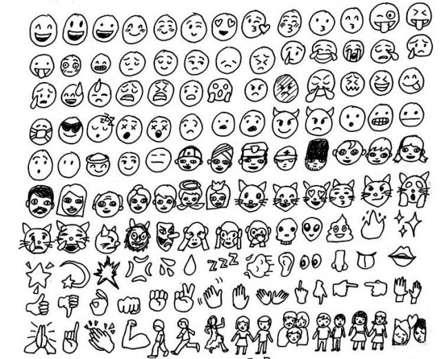 Line Drawing Emoji : All the emojis drawn hairpin
