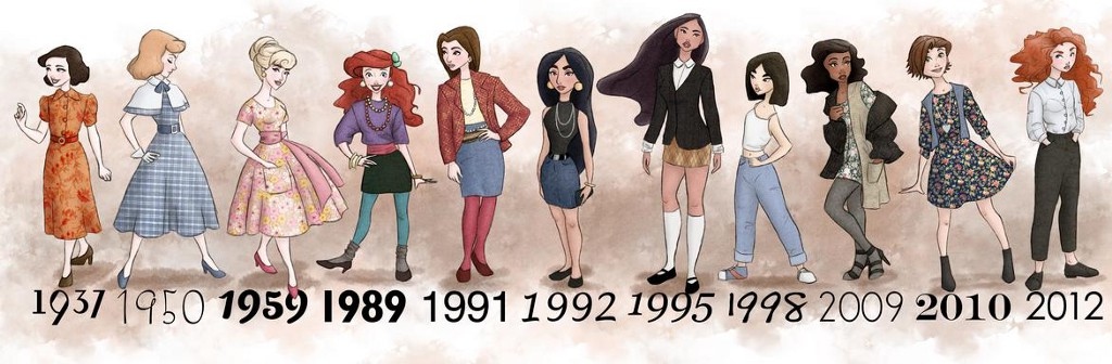 Disney Princesses Dressed In The Style Of The Year Their Movies