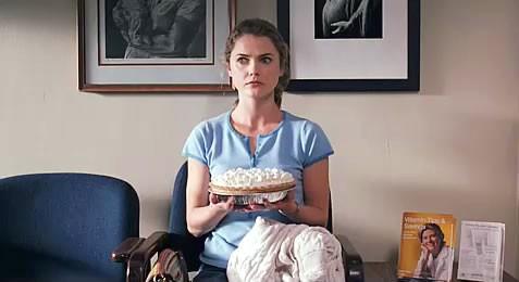 Sad girls holding pie