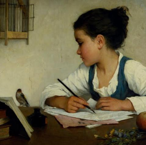 A Girl Writing--The Pet Goldfinch--Henriette Brown--ca 1870