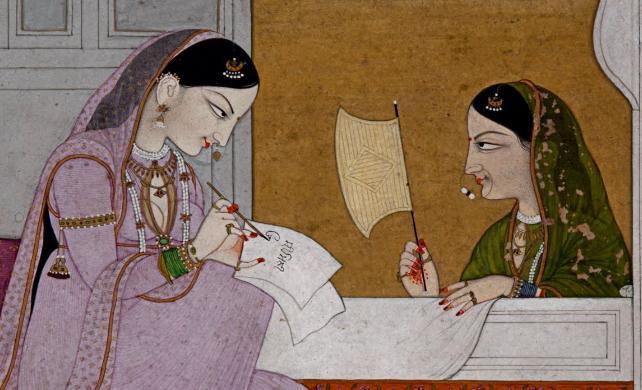 Lady writing a Love Letter ca 1700-1800 --Himachal Pradesh