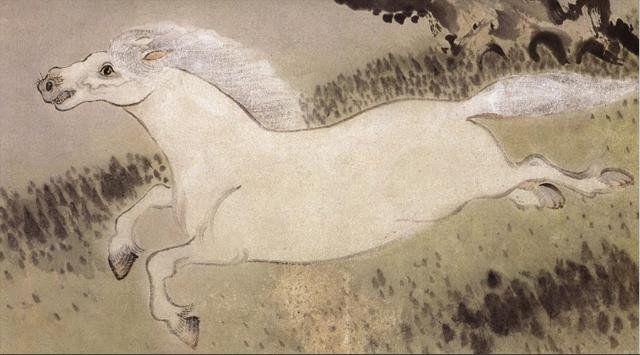 Kim Gyu-Jin--A White Horse Running Past a Willow