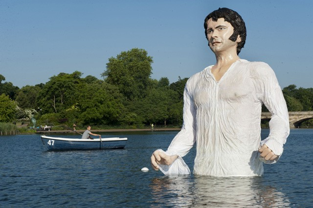 A giant statue of Mr. Darcy emerges from Serpentine Lake at Hyde Park in London